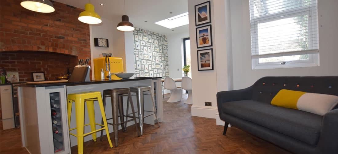 Installation of lvt parquet flooring in Didsbury,