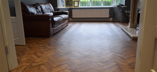 Installation of Camaro Parquet flooring Chorlton