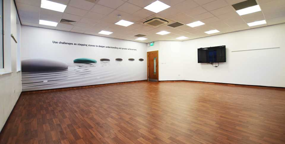 Installation of Polyflor health and safety flooring Manchester city centre