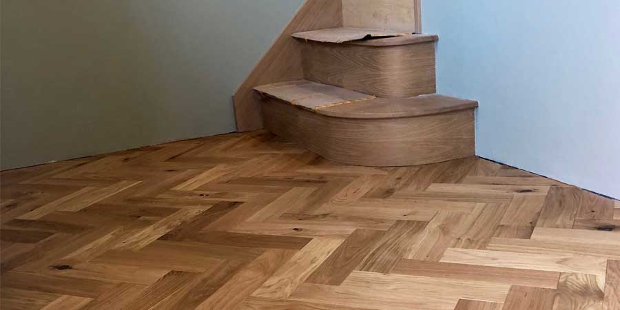 Installation of parquet wood flooring in Culceth