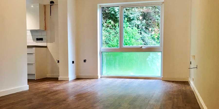Installation of Polyflor camaro flooring in Didsbury