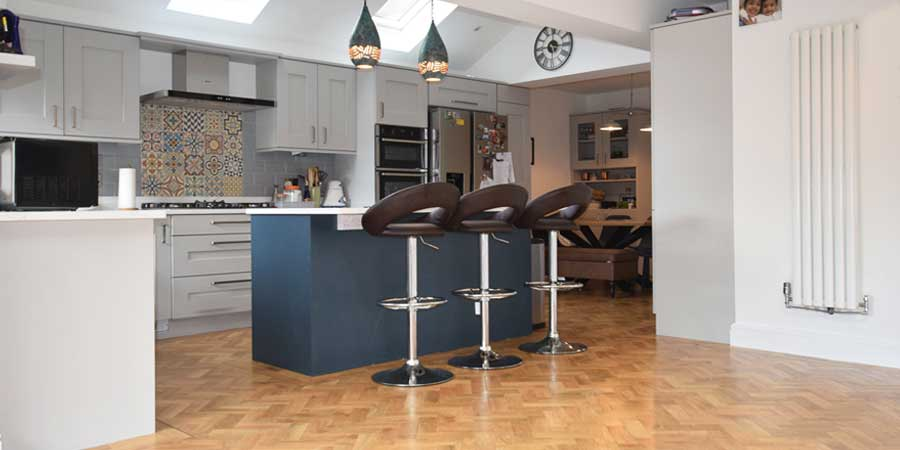 Installation of Karndean Blonde Oak Parquet flooring in Timperley
