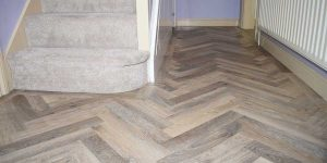 Installation of Karndean Lime Washed Oak Parquet flooring in Worsley in M28