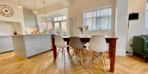 Installation of Project Floors French Classic Herringbone Parquet flooring in Sale Moor Village M33