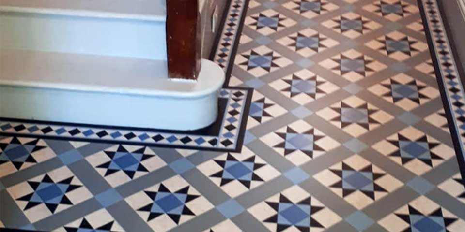 Installation of Amtico Decor Azure Victorian Tiles in Urmston