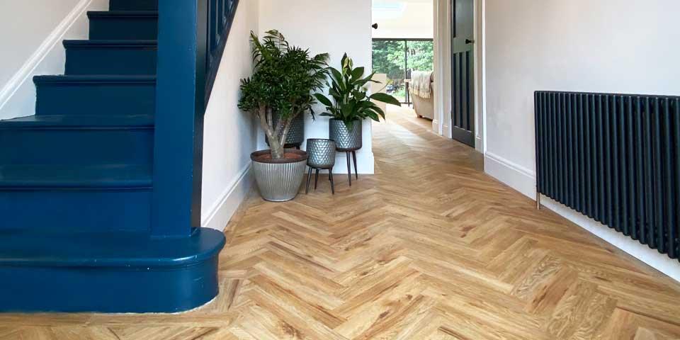 Installation of Project Floors French Oak Herringbone Parquet in Chorlton M21