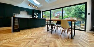 Installation of Project Floors French Oak Herringbone Parquet flooring in Chorlton M21