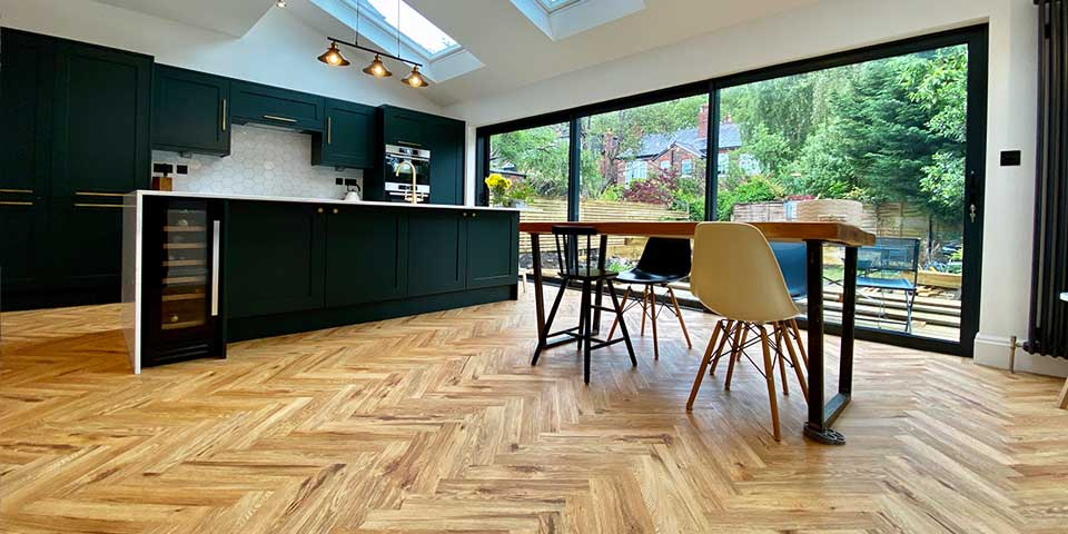 Installation of Project Floors French Oak Herringbone Parquet flooring in Chorlton M21