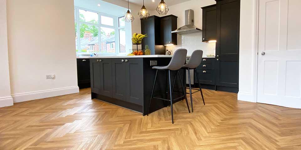 Installation of Project Floors Classic Oak Herringbone Parquet flooring in Gatley