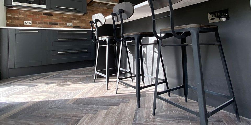 Installation of Project Floors Aged Oak Herringbone